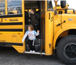 Child exiting bus